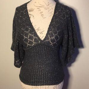 Grey & silver crochet butterfly sleeve sweater top